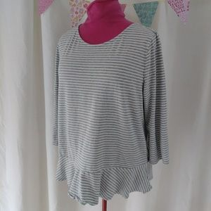 Gap peplum 3/4 sleeve tee striped XXL 2X loose